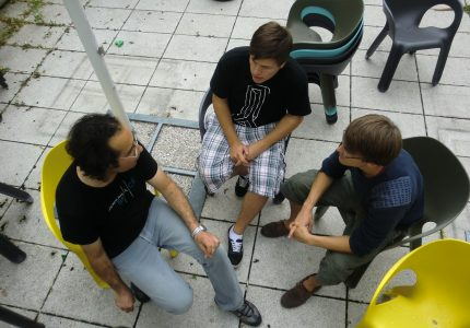 One of the many meetings while making the project
